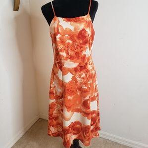 Orange and cream midi dress